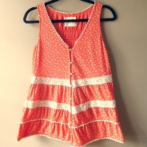 Anthropologie Lace and Buttons Tank